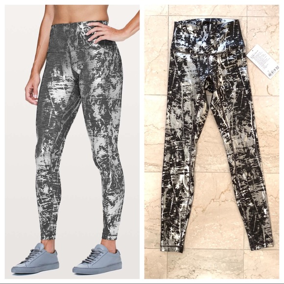 18abbac2e1ce01 lululemon athletica Pants | Nwt Lululemon Wunder Under Metallic Foil ...